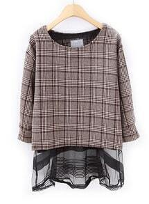 Black Stripe Peplum Top With Brown Plaid Outerwear