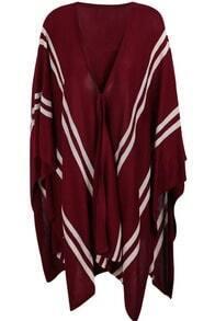 Oxblood V-neck Striped Irregular Hem Knitted Cape