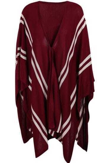 Oxblood V-neck Striped Irregular Hem Knitted Cape