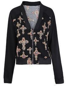 Black Deep V-neck Raglan Sleeve Diamond Cross Print Jacket