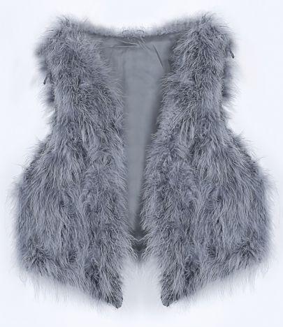 Grey V-neck Faux Fur Crop Gilet