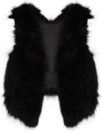 Black V-neck Fur Crop Gilet