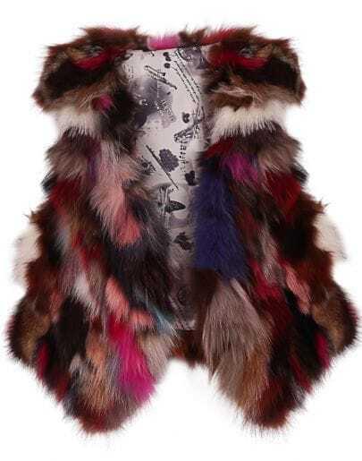 Brown Red Fox Fur Random Pattern Crop Gilet