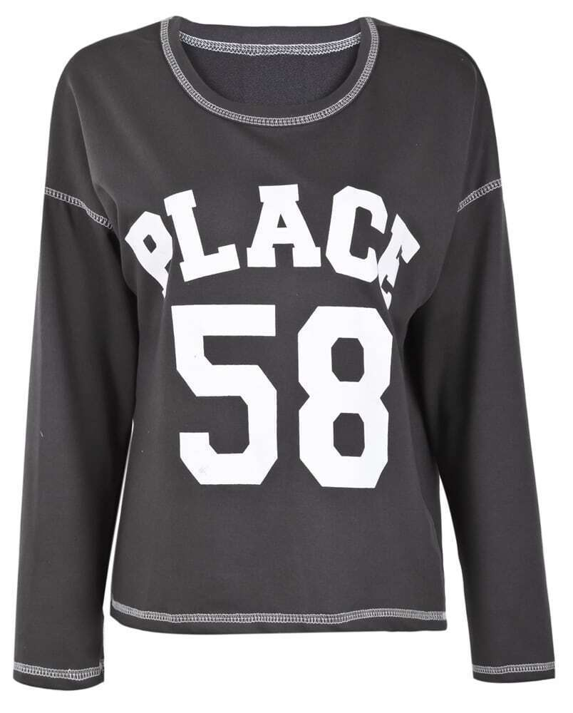 Dark grey long sleeve place 58 print t shirt shein sheinside for Places that print pictures on shirts