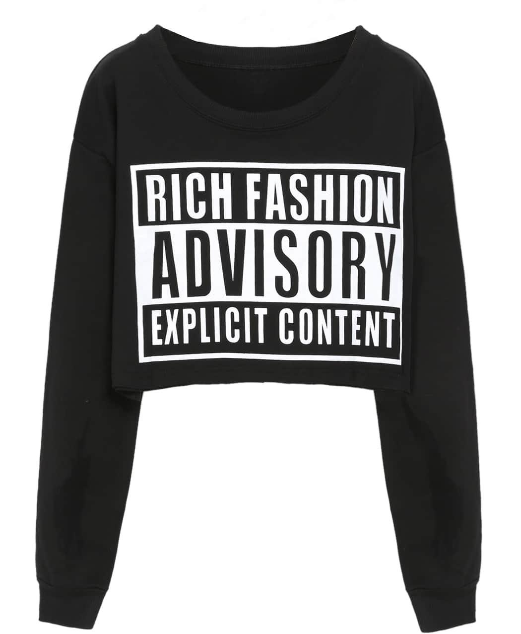 47a40ffa024 Black Round Neck ADVISORY Print Crop Sweatshirt - Latest Fashion ...