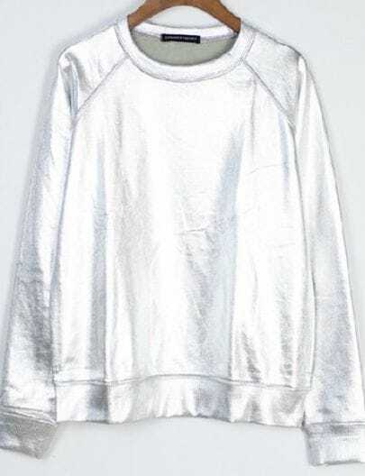 Metallic Silver Round Neck Reglan Sleeve Sweatshirt