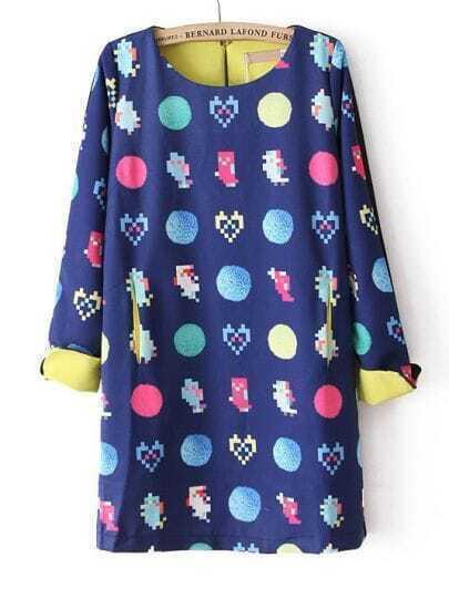 Blue Long Sleeve Heart Round Print Dress