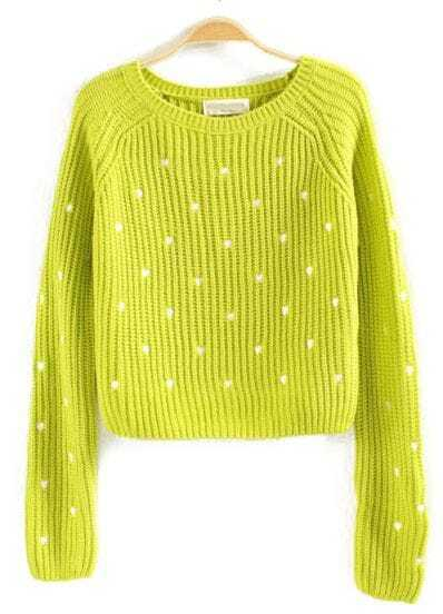 Green Long Sleeve Hearts Embroidered Crop Sweater
