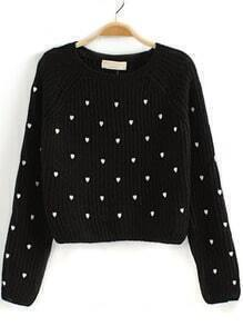 Black Long Sleeve Hearts Embroidered Crop Sweater