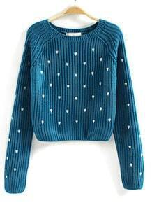 Blue Long Sleeve Hearts Embroidered Crop Sweater