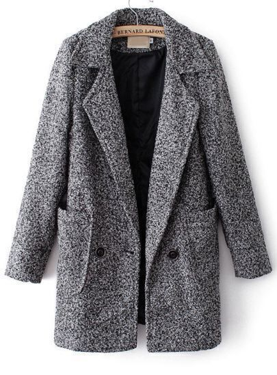 Grey Notch Lapel Long Sleeve Pockets Trench Coat