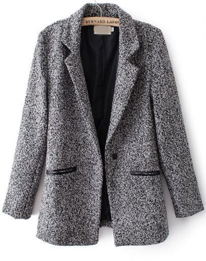 Grey Notch Lapel Long Sleeve Contrast Leather Coat