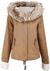 Khaki Fur Hooded Long Sleeve Drawstring Coat
