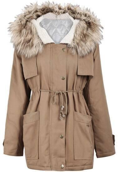 Khaki Fur Hooded Long Sleeve Drawstring Loose Outerwear