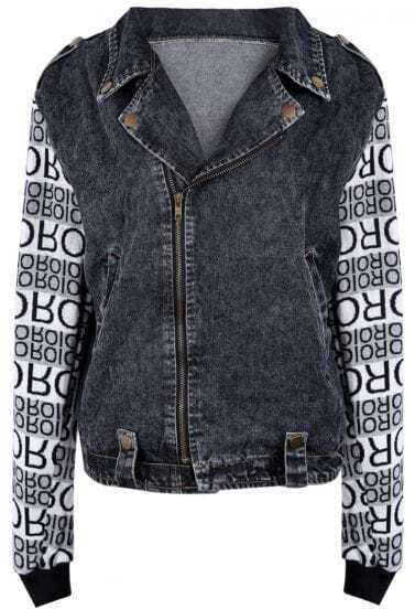 Black Lapel Contrast Letters Print Denim Jacket