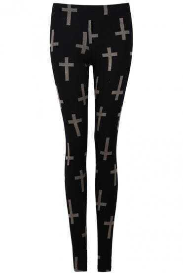 Black Skinny Cross Print Leggings