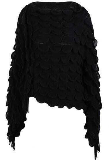 Black Petal Tassel Asymmetrical Cape Sweater