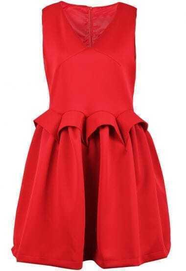 Red V Neck Sleeveless Zipper Flare Dress