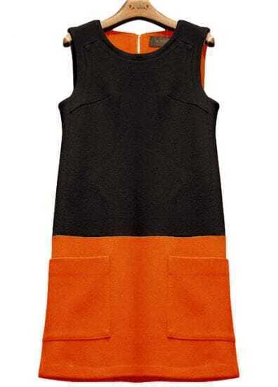 Black Contrast Orange Sleeveless Pockets Sundress