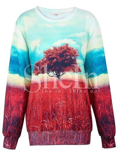 Dual-tone Painting The Tree of Life Print Sweatshirt