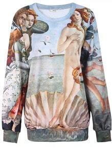 Green Painting The Birth of Venus Print Sweatshirt