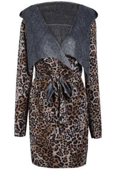 Khaki Hooded Long Sleeve Leopard Belt Coat