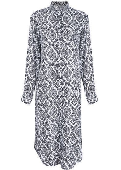 White Lapel Long Sleeve Geometric Print Dress