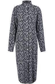 Black Lapel Long Sleeve Geometric Print Dress