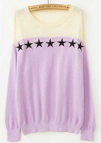 Purple and White Stars Print Round Neck Sweater