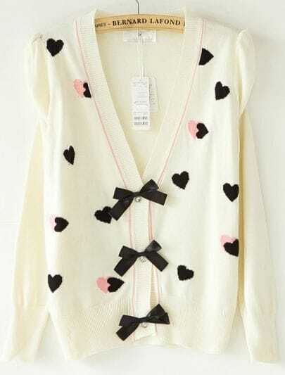 Beige Puff Sleeve Heart Pattern Bowknot Front Cardigan