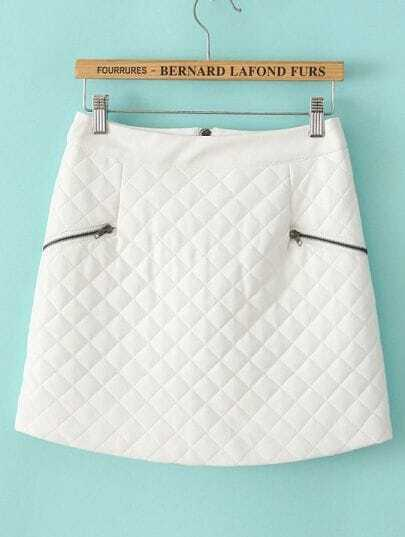 White Plaid Zipper Leather Skirt