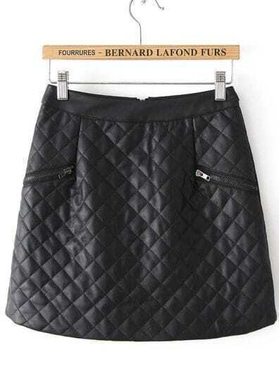 Black Plaid Zipper Leather Skirt