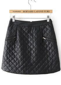 Black Plaid Zipper Leather Skirt