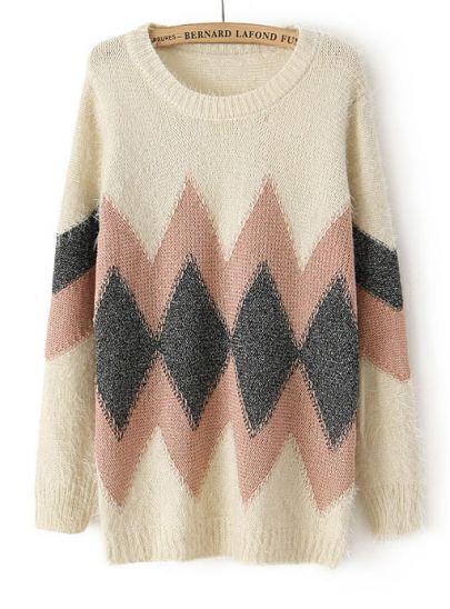 Beige Long Sleeve Geometric Pattern Knit Sweater