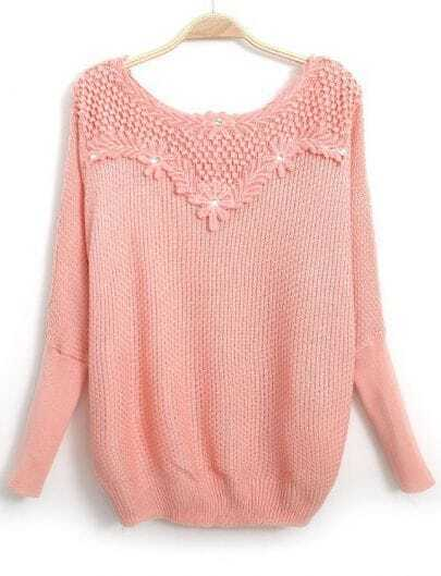 Pink Long Sleeve Embroidered Bead Knit Sweater