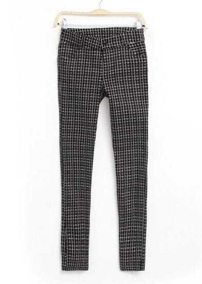 Black Plaid Pockets Casual Pant
