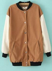 Khaki Stand Collar Contrast Long Sleeve Jacket