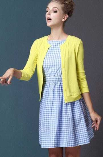 Blue and White Sleeveless Plaid Dress with Knitting Cardigan