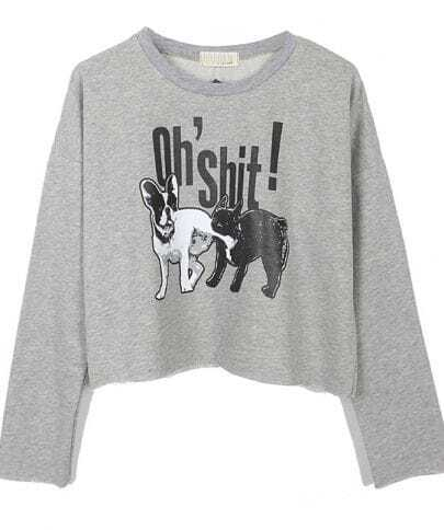 Light Grey OH SHIT Dog Print Crop Sweatshirt
