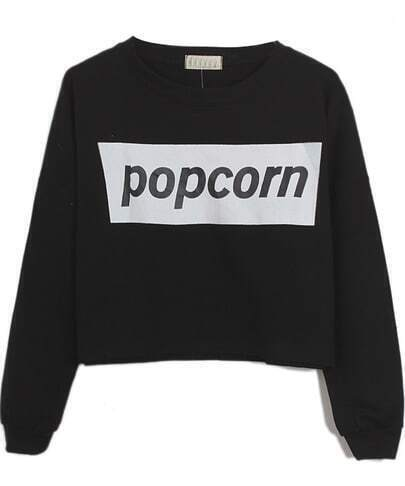 Black POPCORN Print Round Neck Crop Sweatshirt