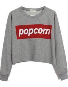 Grey POPCORN Print Round Neck Crop Sweatshirt