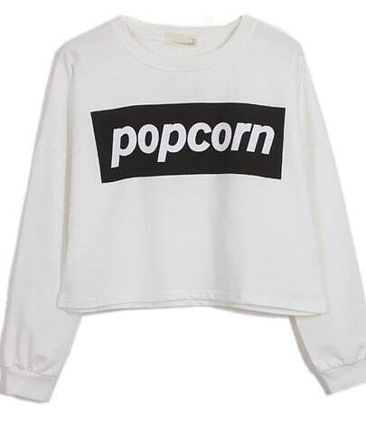 White POPCORN Print Round Neck Crop Sweatshirt