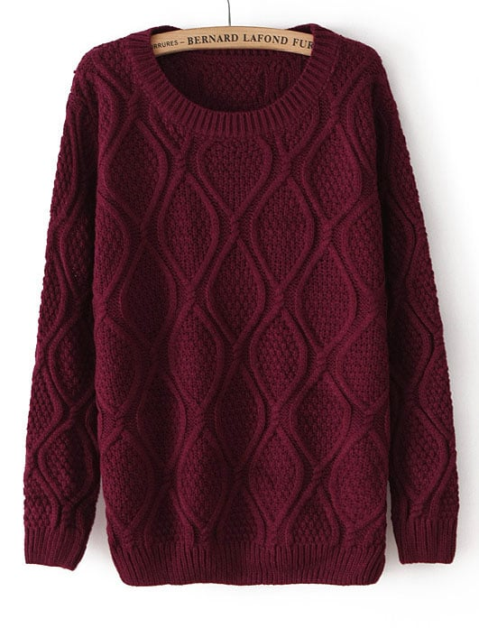 Dark Red Long Sleeve Diamond Patterned Pullover Sweater -SheIn ...