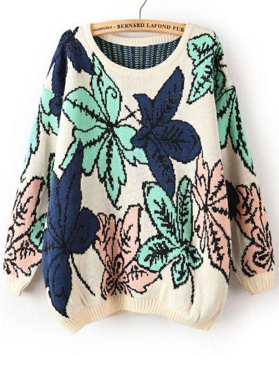 Pink Long Sleeve Metallic Yoke Leaves Pattern Sweater