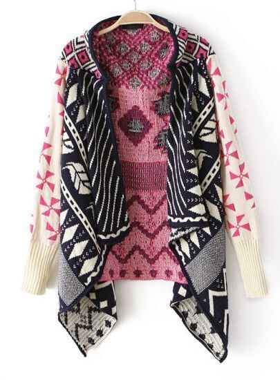 Pink Long Sleeve Tribal Pattern Asymmetrical Cardigan