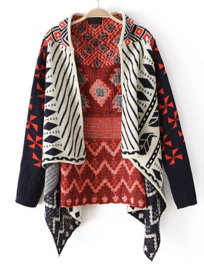 Orange Long Sleeve Tribal Pattern Asymmetrical Cardigan