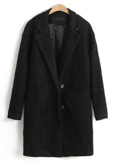Black Notch Lapel Long Sleeve Trench Coat