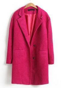 Rose Red Notch Lapel Long Sleeve Trench Coat