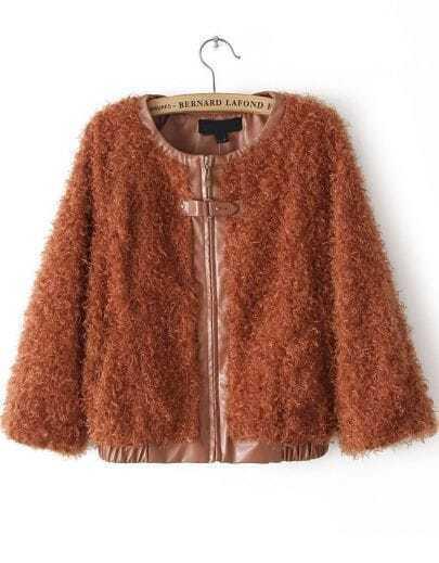 Orange Long Sleeve Fur Zipper Leather Outerwear