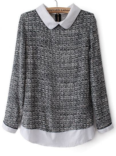 Grey Contrast Lapel Long Sleeve Tweed Blouse